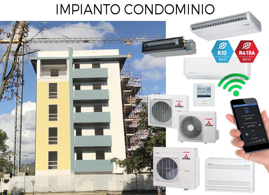 impianto climatizzazione residenziale condominio con varie soluzioni